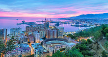 Sunset In Malaga - Aerial View
