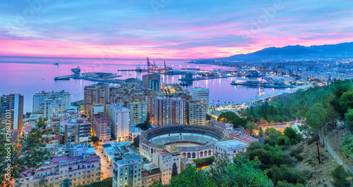 Sunset in Malaga - aerial view Canvas Print