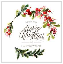 Christmas Card. Watercolor Pai...
