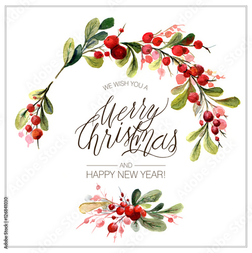 Christmas Card Watercolor Painting With Hand Lettering Berry Wreath For Christmas Watercolor