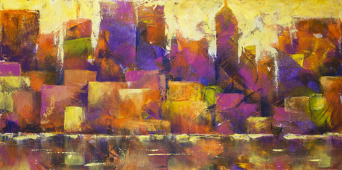 Colorful Cityscape - Acryli...