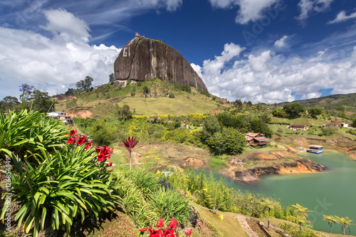 The Rock El Penol near the town of Guatape, Antioquia in Colombia