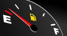 Fuel Gauge Showing Empty Tank. Vector Fuel Indicator On Black Background.
