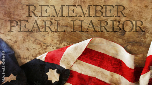 Remember Pearl Harbor. Usa Flag on Wood Canvas Print