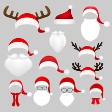 Templates For Picture Reindeer Antlers And A Hat With  Beard An