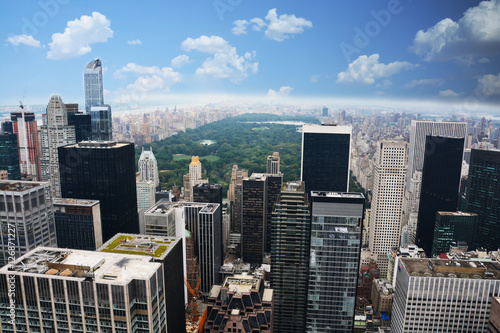 New York Manhattan Central Park aerial view from a skyscraper Poster Mural XXL