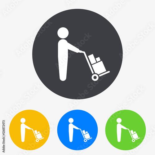 Fotografía  Icono plano hombre con carretilla de carga en circulo varios colores