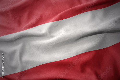Staande foto Noord Europa waving colorful flag of austria.
