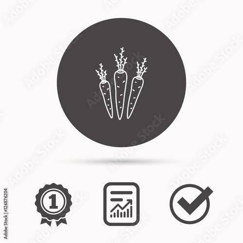Carrots icon. Vegetarian food sign. Natural vegetables ...