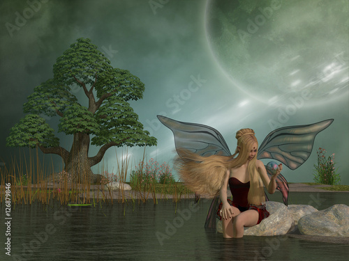 Plakát  Fairy Daina by Pond - A woodland fairy plays with her pet dragon in a magic ball while sitting by a marsh pond