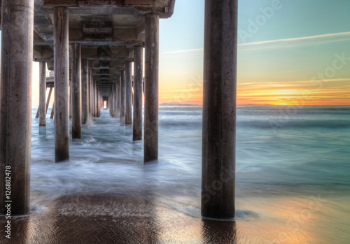 HDR Sunset behind the Huntington Beach pier in Southern California