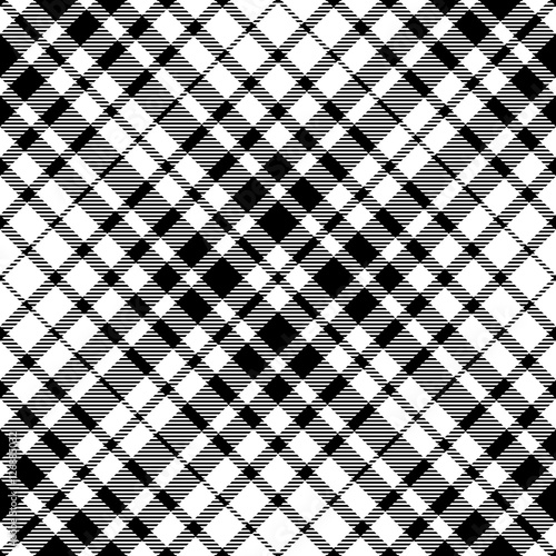 Seamless Black White Tartan Plaid Pattern Traditional Checkered