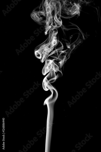 Fotobehang Rook Movement of smoke,Abstract white smoke on black background