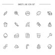 Sweets food flat icon set for web design.