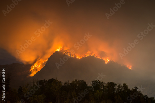 Poster Roe The forest fire claiming more acres at Party Rock at Lake Lure in the Blue Ridge Mountains of North Carolina.