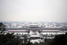 The Forbidden City In Beijing.  Snow-covered Forbidden City