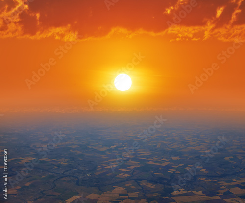 Canvas Print - sunrise or sunset, bird's-eye view