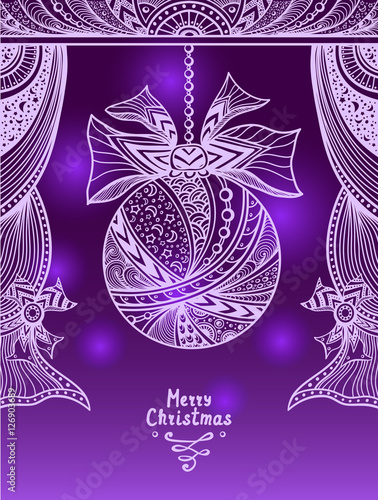 Christmas Ball with bow and curtains in Zen-tangle style in violet lilac