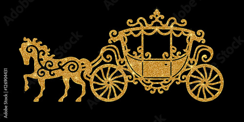 Horse carriage golden silhouette Poster Mural XXL
