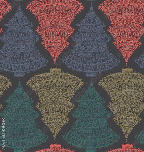Stoffe zum Nähen Nahtlose Vektormuster mit handgezeichneten doodle Grafik Weihnachtsbäume