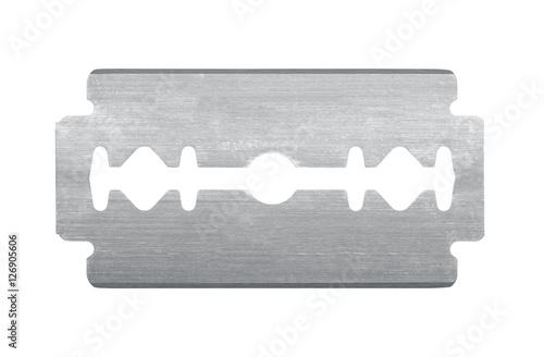 Tela Old razor blade isolated on white background