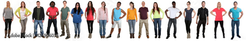 Fotografie, Obraz  Junge Leute People Gruppe lachen glücklich multikulturell in ei