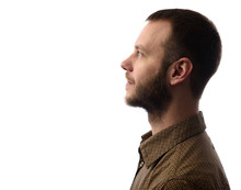 Side View Of Young Bearded Man...