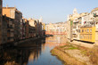 picturesque view of Gerona with river in day time. Catalonia, S