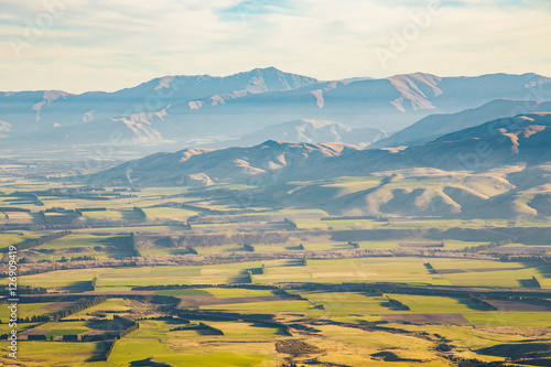 Foto op Aluminium Blauw Farm with nice shadow, Mount Somers, Canterbury, New Zealand