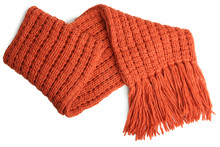 Orange Knitted Scarf Isolated
