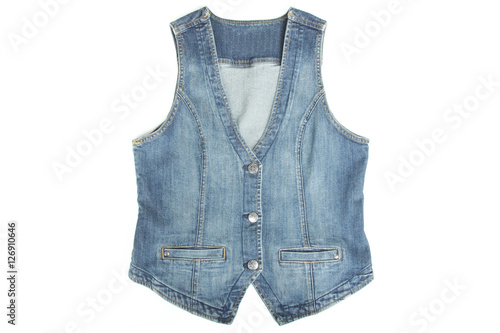 Fotografía  Blue denim vest isolated on a white background