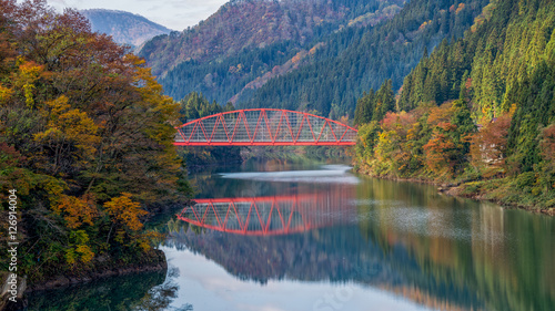 Red bridge at the Tadami river, Fukushima, Japan.