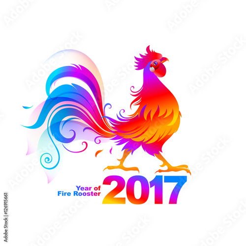 Fotobehang Pony Fire rooster, symbol of 2017 on the Chinese calendar