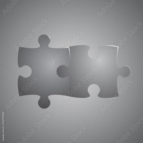 Fotografie, Obraz  Two Grey Piece Puzzle Round Infographic. 2 Step.