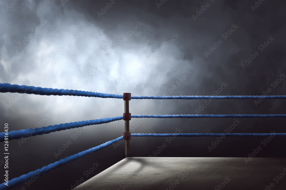 Fototapety, obrazy: View of a regular boxing ring surrounded by blue ropes