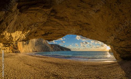 Poster Maroc Porto Katsiki beach sunset on Lefkada island in Greece