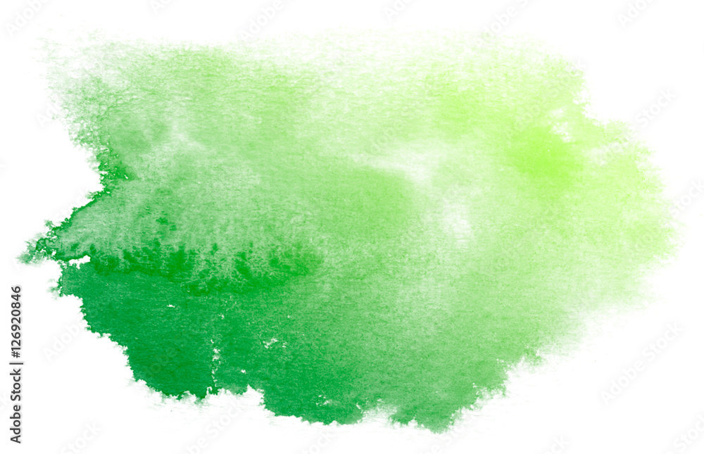 Fototapety, obrazy: Abstract green watercolor on white background.This is watercolor splash.It is drawn by hand.