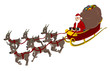 Illustration of Santa Claus in his sleigh with six reindeer, isolated on white background