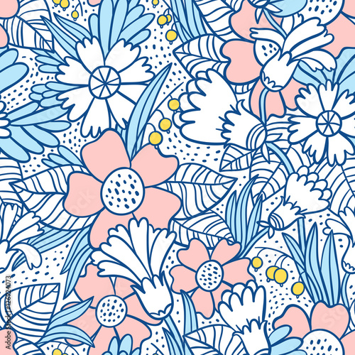 Cotton fabric Blue flowers pattern