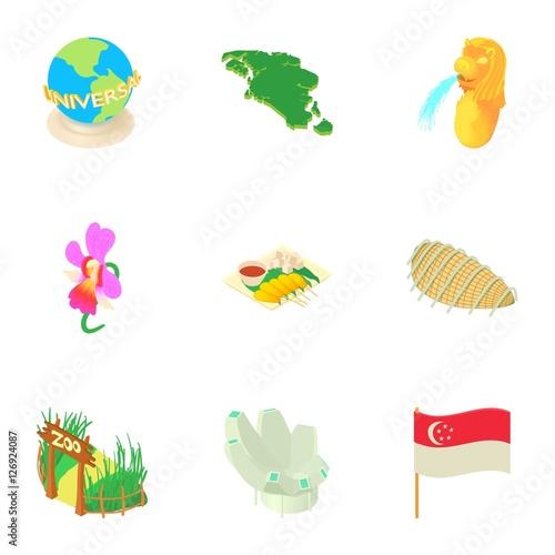 Photo  Tourism in Singapore icons set