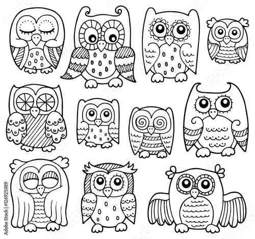 Keuken foto achterwand Uilen cartoon Owl drawings theme 1