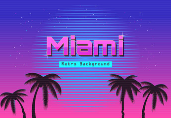 80s Retro Neon gradient background. Palms and sun. Tv glitch effect. Sci-fi M...