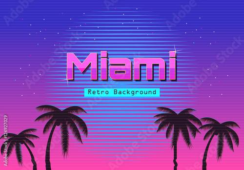 80s Retro Neon gradient background. Palms and sun. Tv glitch effect. Sci-fi M...
