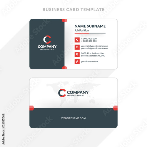 Creative and clean double sided business card template red and creative and clean double sided business card template red and black colors flat fbccfo Image collections