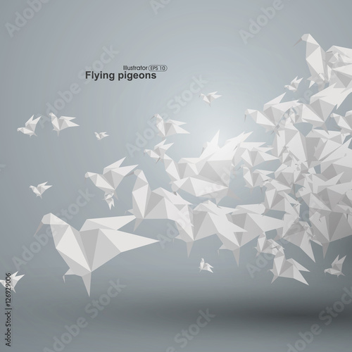 Fotografering  Graphics abstract origami dove accumulation