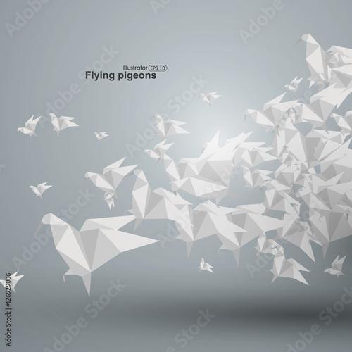 Fotografie, Obraz  Graphics abstract origami dove accumulation