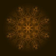 Orange Circular Pattern With Transparent Edge Over Black Backgro