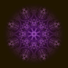 Purple Circular Pattern With Transparent Edge Over Black Backgro