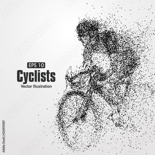 Cyclists, particle divergent composition, vector illustration. Wall mural