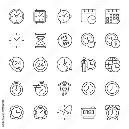 time thin line icons Wall mural